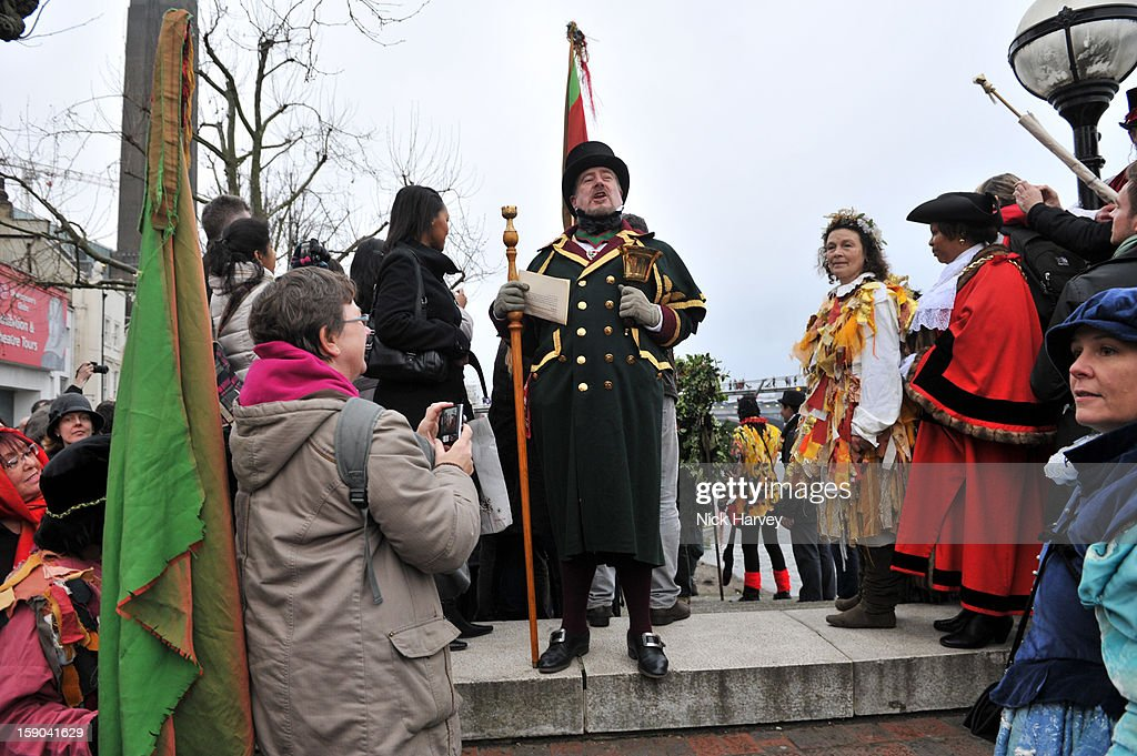 The Town Crier, Twelfth Bake and The Mayor attend the Lions Part's 19th Twelfth Night celebrations at Shakespeare's Globe on January 6, 2013 in London, England.