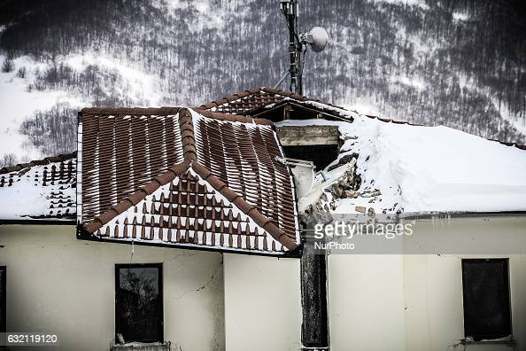The town hall of Campotosto damaged by earthquake in Campotosto Italy on January 19 2017 A great deal of snow has fallen in the area which was hit by...