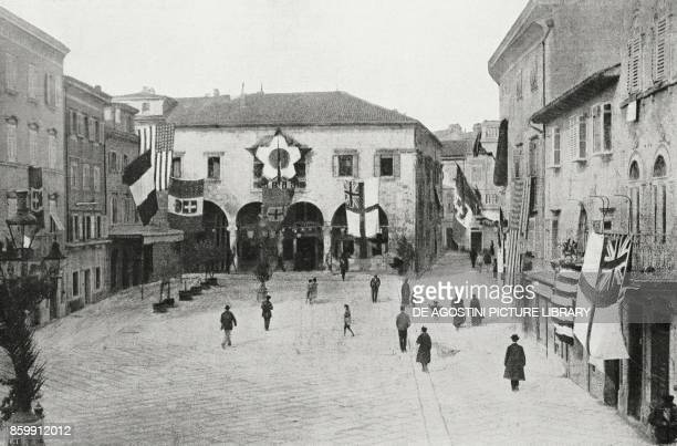 The Town Hall of Pola adorned for the arrival of the Italian troops Croatia World War I from l'Illustrazione Italiana Year XLV No 49 December 8 1918