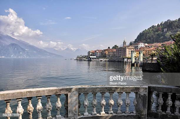CONTENT] The town of Bellagio on the Como Lake in the foreground with a marble balustrade where is possible to rest and admire the lake In the...