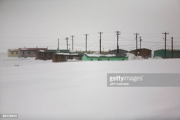 The town of Kaktovik sits snowbound for most of the year sitting above the Arctic Circle on the Alaskan tundra on May 1 2007 in Kaktovik Alaska