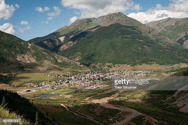 The town of Silverton is pictured on August 11 2015 in Colorado The Animas River was accidentally flooded with approximately three million gallons of...