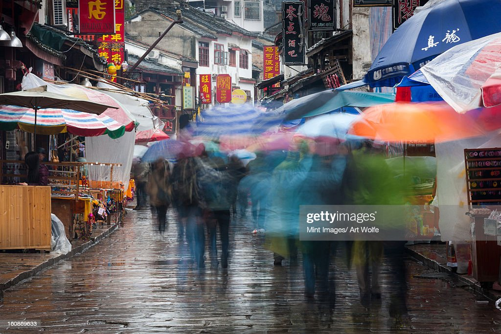 The town of Yangshuo, China in the rain : Stock Photo