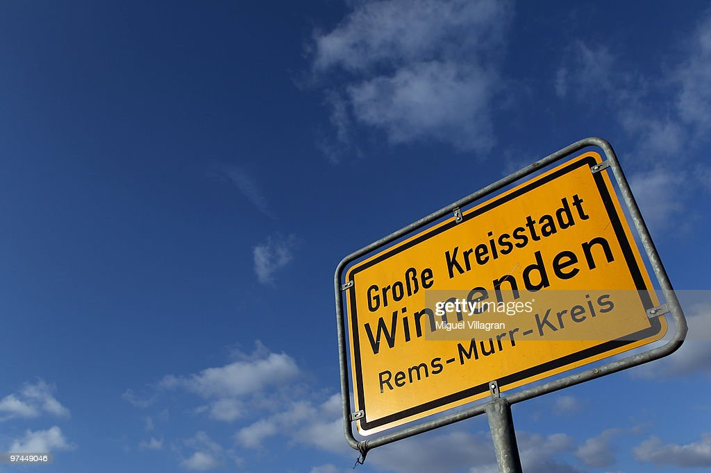 The town sign of Winnenden is pictured on March 4 2010 in Winnenden Germany Tim Kretschmer opened fire on teachers and pupils at the Albertville...