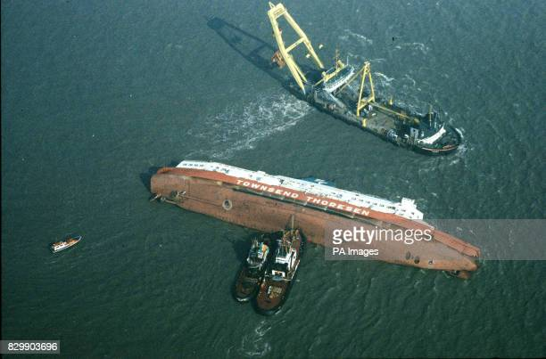 The Townsend Thorensen car ferry Herald of Free Enterprise which capsized outside Zeebrugge Harbour Belgium 194 people including 38 crew lost their...