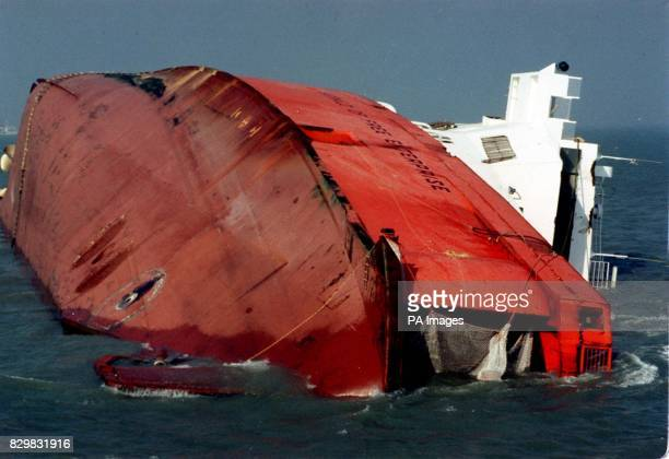 The Townsend Thorensen ferry Herald of Free Enterprise which capsized near the entrance of Zeebrugge harbour Belgium Friday 6th March after departing...