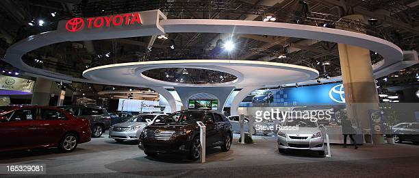The Toyota Booth mimics a tree and the company logo in the South Building at the Toronto International Auto show is open to the public at the Metro...
