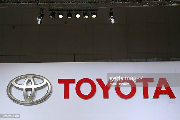 The Toyota corporate logo is displayed at the 91st edition of the European Motor Show at Brussels Expo on January 10 2013 in Brussels Belgium