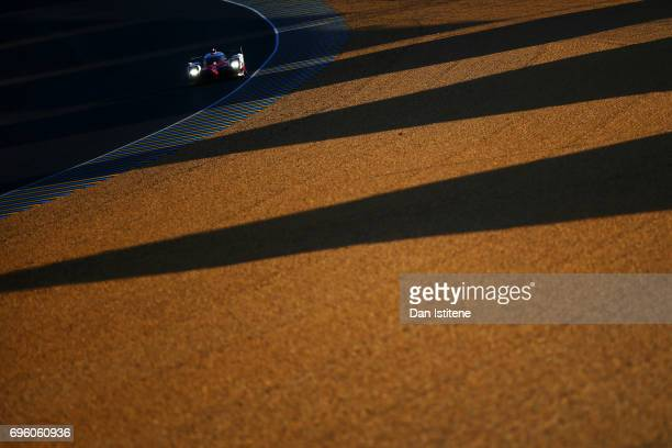 The Toyota Gazoo Racing TS050 of Mike Conway Kamui Kobayashi and Stephane Sarrazin drives during practice for the Le Mans 24 Hour Race at Circuit de...