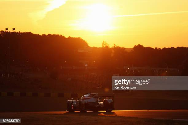 The Toyota Gazoo Racing TS050 of Sebastien Buemi Anthony Davidson and Kazuki Nakajima drives during the Le Mans 24 Hours race at the Circuit de la...
