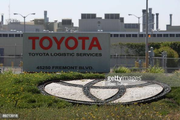 The Toyota logo is displayed outside of the New United Motor Manufacturing Inc plant July 23 2009 in Fremont California Toyota Motor Corp announced...