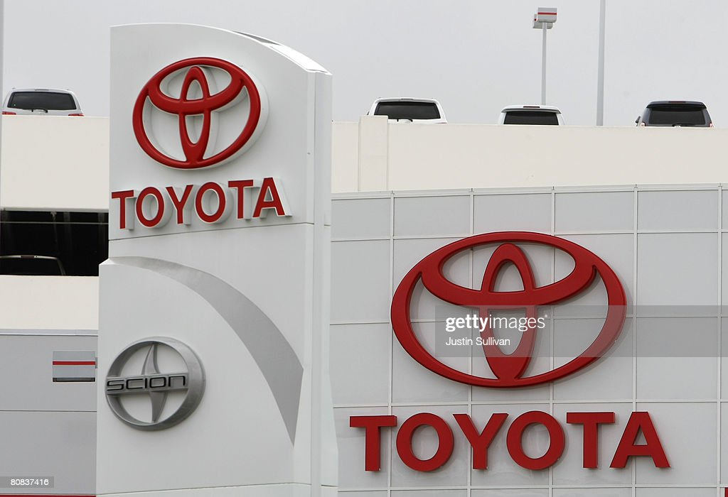 The Toyota logo is seen on signage at City Toyota April 23 2008 in Daly City California Toyota surpassed General Motors in global sales for the first...