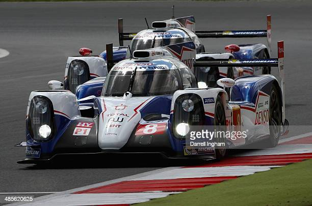 The Toyota Racing Toyota TS040 Hybrid LMP1 driven by Sebastien Buemi of Switzerland Nicolas Lapierre of France and Anthony Davidson of Great Britain...