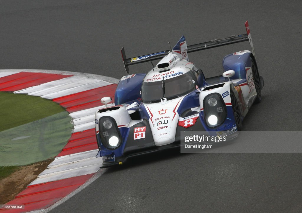 The #8 Toyota Racing Toyota TS040 Hybrid LMP1 driven by Sebastien Buemi of Switzerland, Nicolas Lapierre of France and Anthony Davidson of Great Britain during the FIA World Endurance Championship 6 Hours of Silverstone sportscar race at the Silverstone Circuit on April 20, 2014 in Northampton, England.