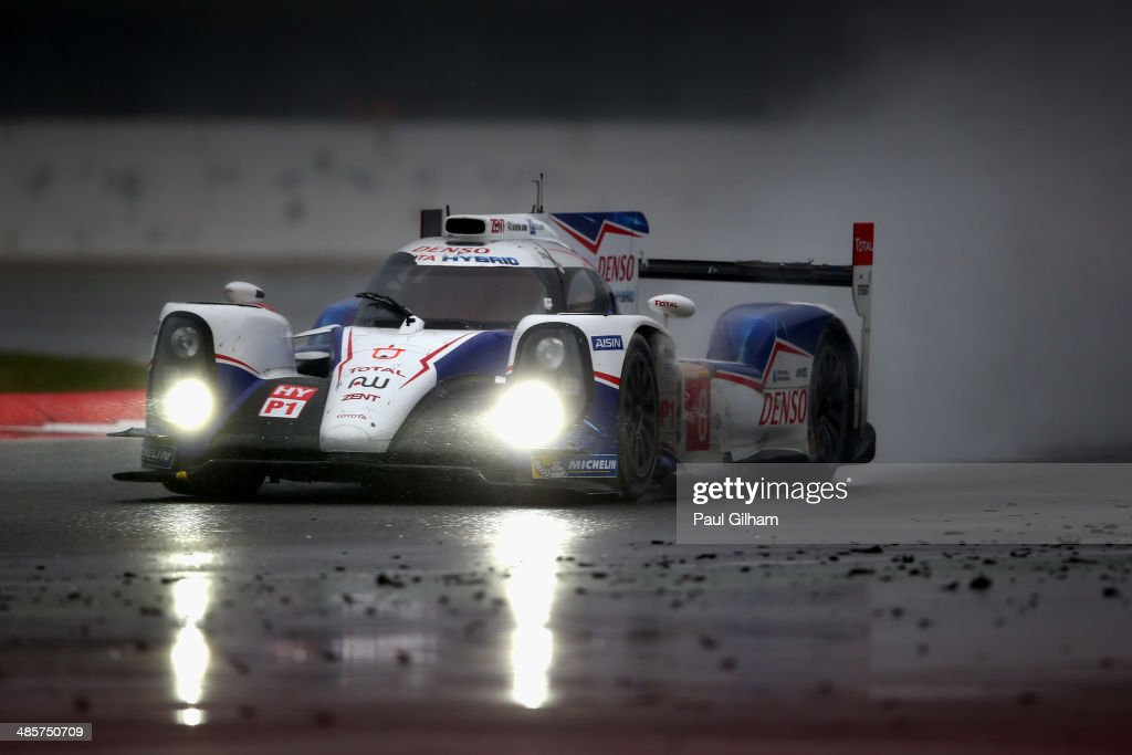 The #8 Toyota Racing TS040 Hybrid LMP1 driven by Sebastien Buemi of Switzerland, Nicolas Lapierre of France and Anthony Davidson of Great Britain during the FIA World Endurance Championship 6 Hours of Silverstone sportscar race at the Silverstone Circuit on April 20, 2014 in Northampton, England.