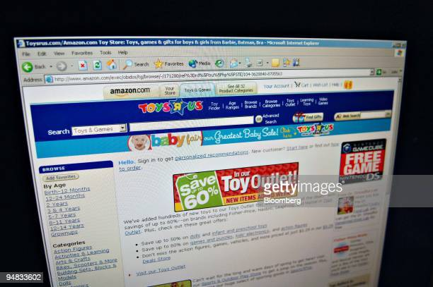 The Toys 'R' Us section of the Amazoncom website is pictured on a computer screen in New York Thursday March 2 2006 A New Jersey judge ruled that...