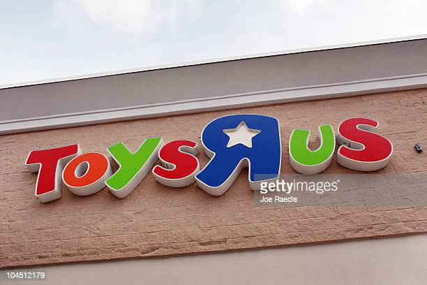 The Toys'R'Us sign is seen on the outside of a store on September 28 2010 in Miami Florida Toys'R'Us announced today it will hire about 45000...
