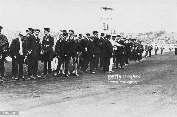 The track after a fouling incident in the final of the 400 metres flat race during the 1908 Summer Olympics in London 25th July 1908
