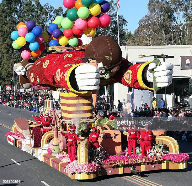 The Trader Joe's float winner of the Fantasy Award on the parade route during the 127th Tournament of Roses Parade Presented by Honda on January 1...