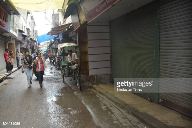 The traders in Ghaziabad shut down shutters to protest GST roll out on June 30 2016 in Ghaziabad India The traders said they were not against the GST...