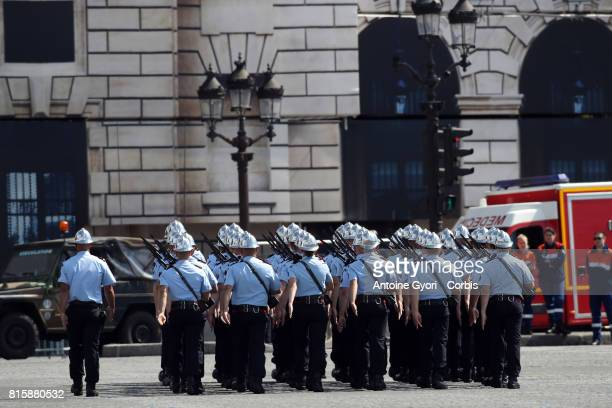 the traditional Bastille day French Firefighter battalion during the military parade on the Concorde on July 14 2017 in Paris France Bastille Day the...
