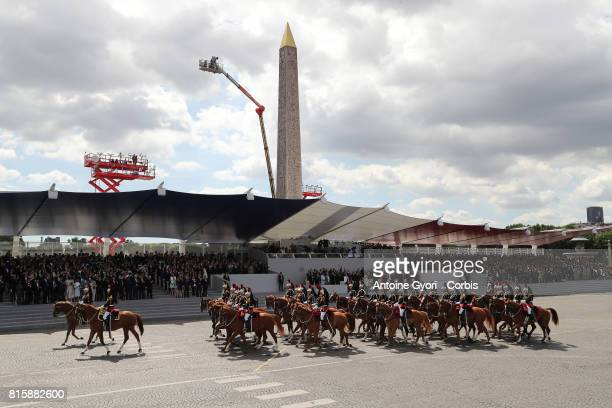 the traditional Bastille day military parade French 'Garde Republicaine' on the Place de la Concorde on July 14 2017 in Paris France Bastille Day the...