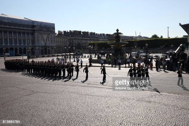 the traditional Bastille day military parade on the ChampsElysees on July 14 2017 in Paris France Bastille Day the French National day commemorates...