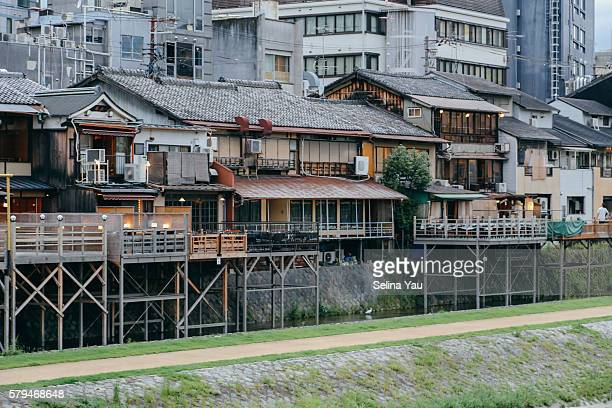 The traditional dining terraces along the Kamo River, Kyoto.