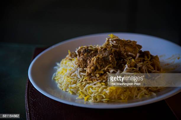 The traditional dish of chicken dum biryani is seen at Bademiya restaurant in South in Mumbai India on Monday May 09 2016