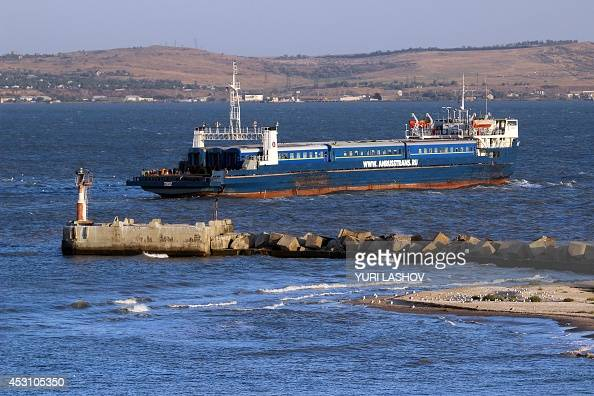 The train ferry carrying the 9coaches MoscowSimferopol train crosses the Kerch strait from Port Caucasus Krasnodar region in southern Russia towards...