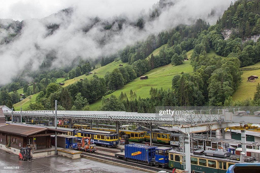 The train station at Lauterbrunnen, Switzerland on a rainy day. Terminus of the Wengernalpbahn, and also on the Berner Oberland Bahn.