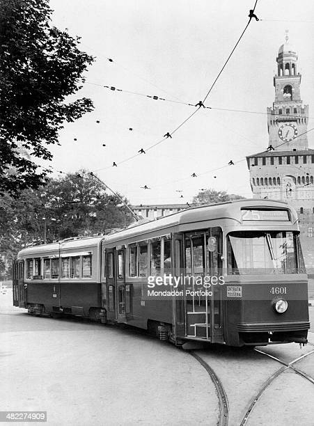 The tram number 25 passing in front of the Sforza Castle Milan 1950s