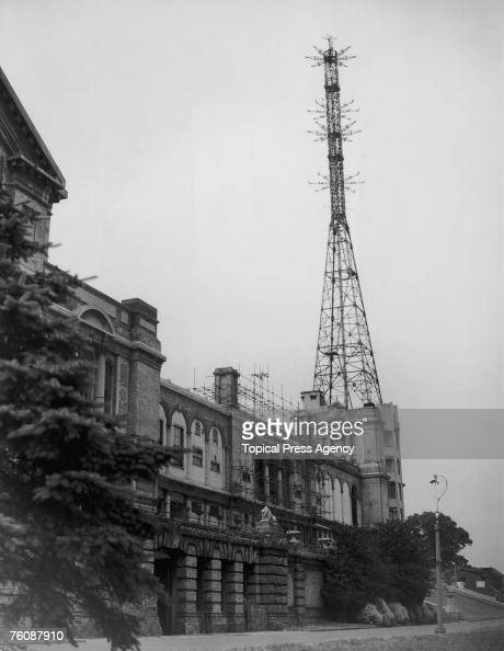 The transmission mast above the BBC wing of Alexandra Palace north London 20th August 1946