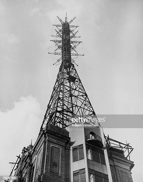 The transmission mast above the BBC wing of Alexandra Palace north London 14th January 1946