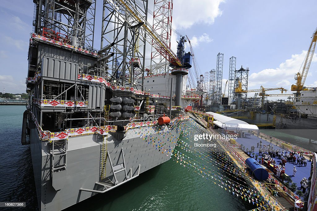 The Transocean Andaman jackup rig, built by Keppel Corp. for Transocean Ltd., stands docked at the Keppel FELS shipyard during a naming ceremony in Singapore, on Saturday, Feb. 2, 2013. Keppel Corp.'s FELS unit received a combined $1.5 million bonus for completing the construction of two drilling rigs ahead of time, the company said in a statement. Photographer: Munshi Ahmed/Bloomberg via Getty Images