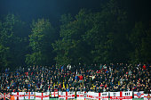 The travelling England fans show their support during the UEFA EURO 2016 qualifying Group E match between Lithuania and England at LFF Stadionas on...