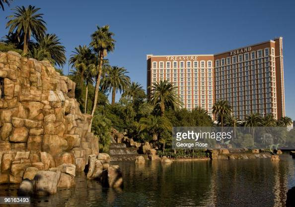 The Treasure Island Hotel Casino is seen from the Mirage Hotel lake as seen in this 2009 Las Vegas Nevada winter afternoon photo