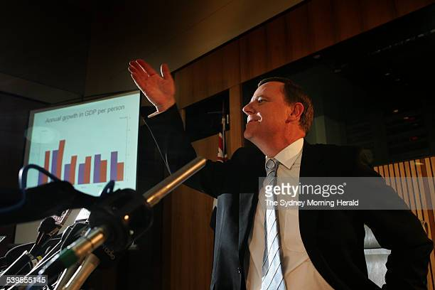 The Treasurer Peter Costello delivers his tenth budget on 10 May 2005 Mr Costello with the aid of a powerpoint presentation holds a press conference...
