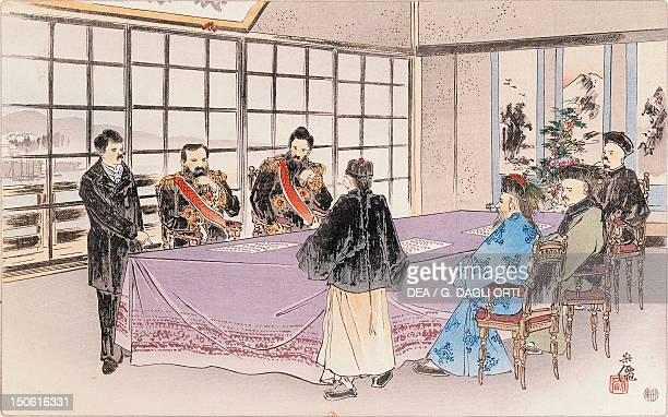 The Treaty of Shimonoseki also known as the Treaty of Maguan was ratified in China April 17 between the Japanese Empire and the Qing Dynasty putting...