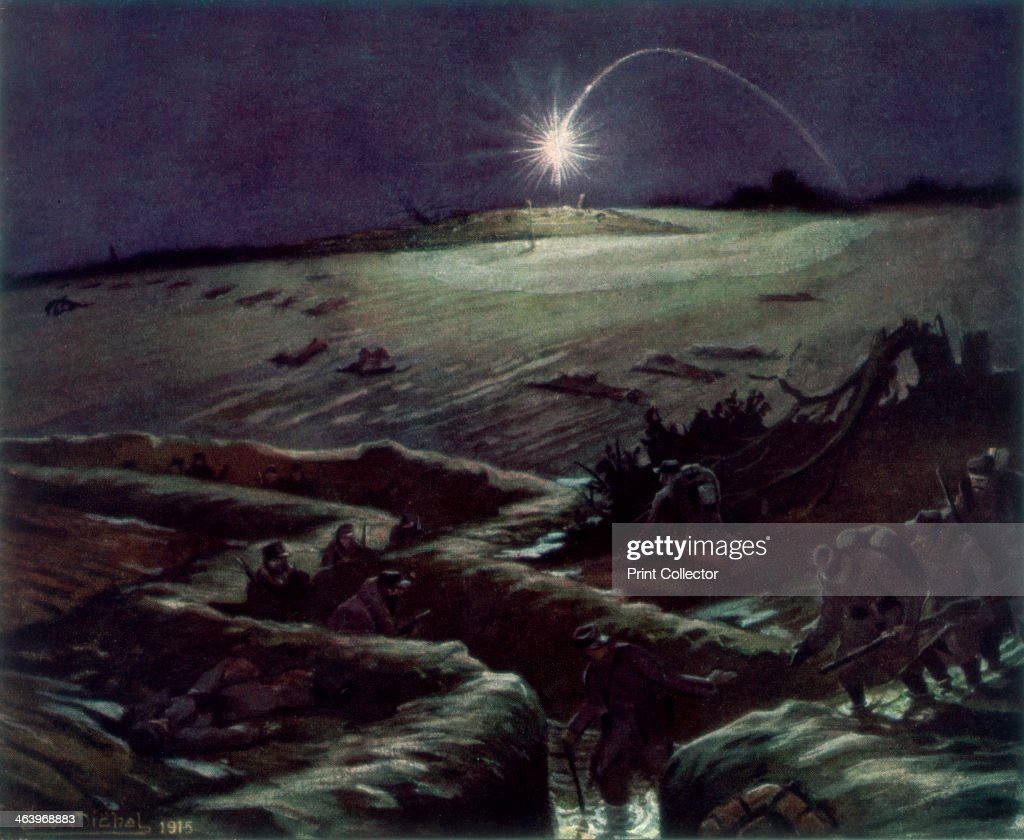 'The Trenches of Noulette', France, 1915, (1926). A French patrol returns to the trenches at night while a flare illuminates no man's land.