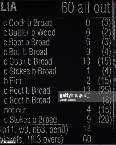 The Trent Bridge scoreboard shows the Australian 1st innings scorecard during day one of the 4th Investec Ashes Test match between England and...