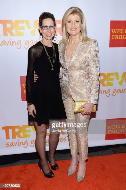 The Trevor Project Executive Director and CEO Abbe Land and Arianna Huffington attend the Trevor Project's 2014 'TrevorLIVE NY' Event at the Marriott...