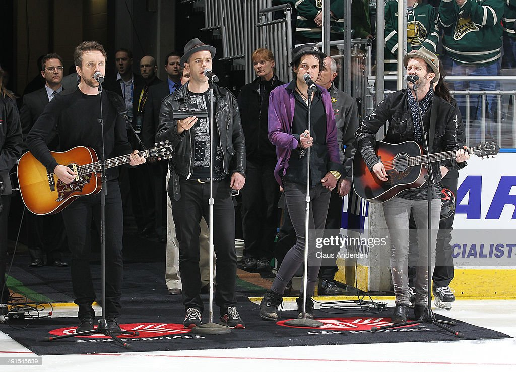 The Trews perform prior to play between the Val'Dor Foreurs and the London Knights in Game One of the 2014 Mastercard Memorial Cup Championship at the Budweiser Gardens on May 16, 2014 in London, Ontario, Canada.