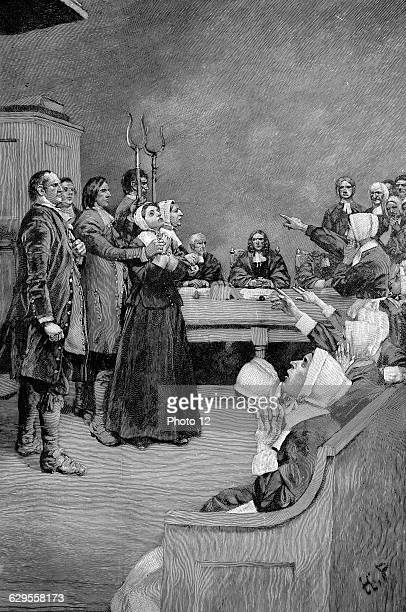 The Trial of a Witch 17th century Puritan America Illustration for the play 'Giles Corey Yeoman' by Mary E Wilkins American novelist and playwright...