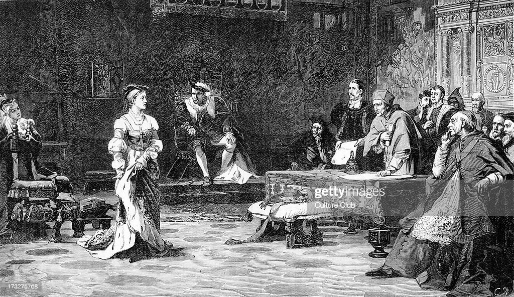 The Trial of Catherine - after painting by Laslett J. Pott. Catherine of Aragon, first wife of Henry VIII, testifying at the Legatine Court, at which she defended the legitimacy of her marriage and her position as Queen of England. August 1529. Henry VIII in background, centre.