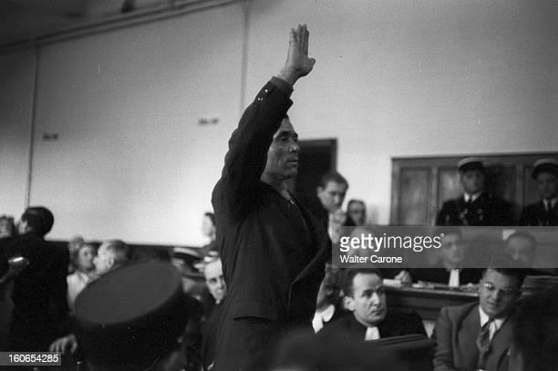 The Trial Of The Dominici Case DignelesBains novembre 1954 Au tribunal dans la salle des assises lors du procès de Gaston DOMINICI Paul MAILLET à la...