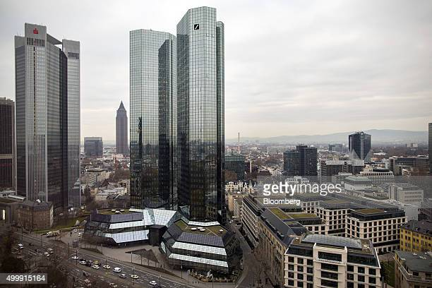 The Trianon Tower left and the twin towers of the Deutsche Bank AG headquarters stand as commercial and residential property are seen on the city...