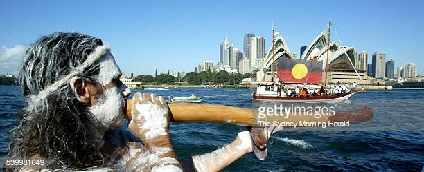 The Tribal Warrior first Aboriginal ship to circumnavigate Australia returns to Sydney Harbour 9 June 2003 SMH Picture by PETER RAE