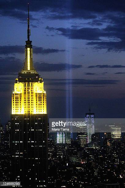 The Tribute in Light is seen behind the Empire State Building on September 10 2011 in New York City The Tribute in Light is an art installation...