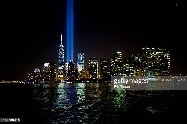 The 'Tribute in Light' is seen September 11 2014 in New York This year marks the 13th anniversary of the September 11th terrorist attacks that killed...